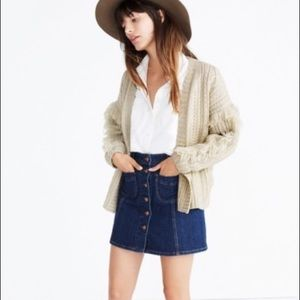 Madewell Fringe Cable Knit Wool Cardigan M